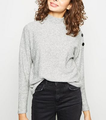 Grey Fine Knit  Button Shoulder Long Sleeve Top