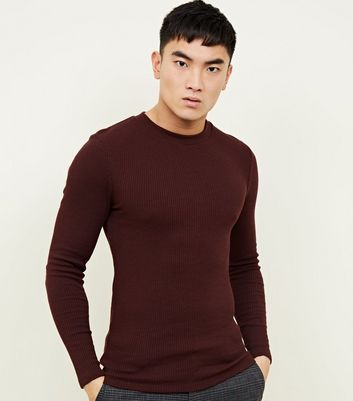 Burgrundy Long Sleeve Ribbed Muscle Fit T-Shirt