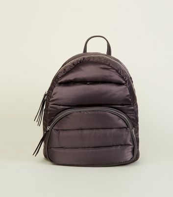 Grey Quilted Puffer Backpack