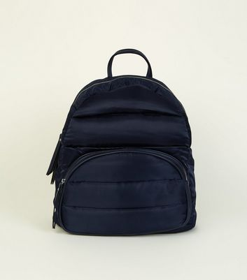 Navy Quilted Puffer Backpack