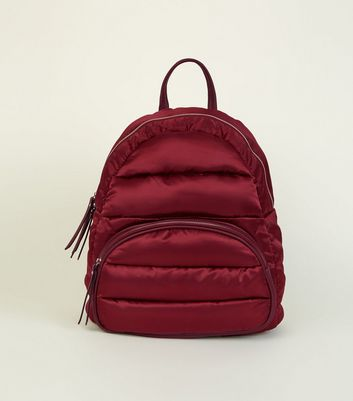 Dark Red Quilted Puffer Backpack