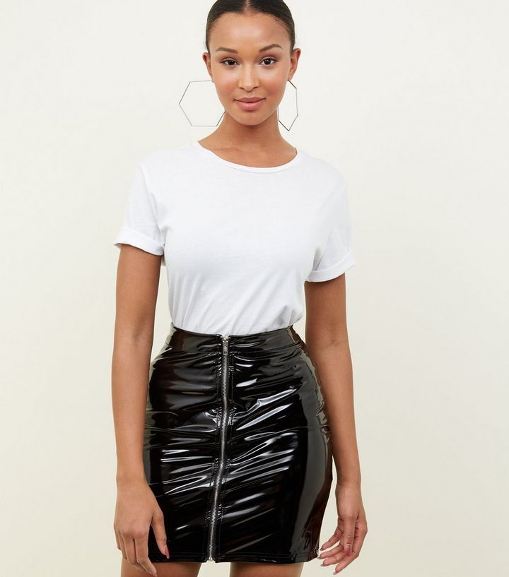 41d0e2db86 Parisian Black Vinyl Zip Front Mini Skirt | New Look