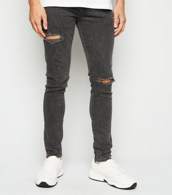 Dark Grey Ripped Super Skinny Stretch Jeans
