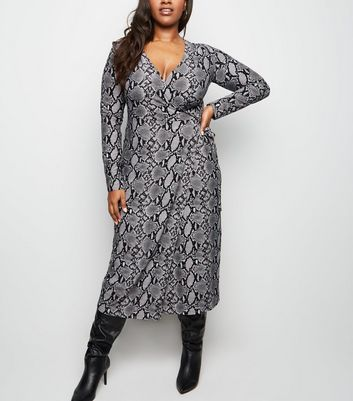Curves Grey Snake Print Wrap Midi Dress