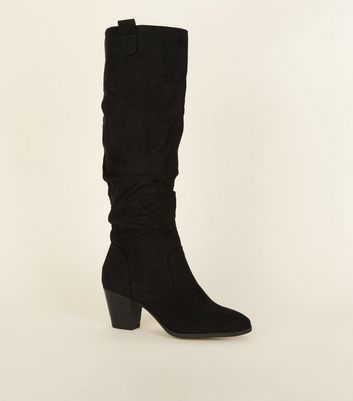 Black Suedette Knee High Slouch Western Boots