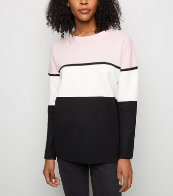 Pink Colour Block Longline Jumper
