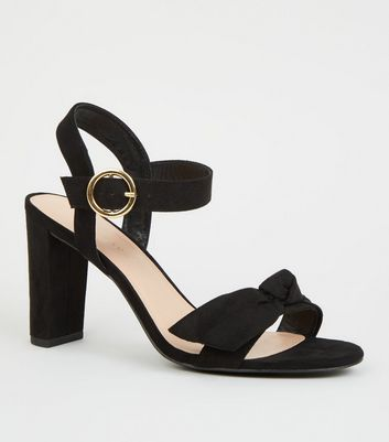 Wide Fit Black Bow Strap Block Heels