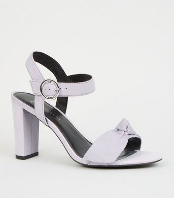 Wide Fit Lilac Bow Strap Block Heels