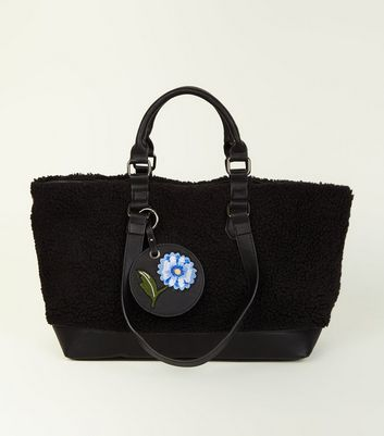 Black Faux Shearling Tote Bag