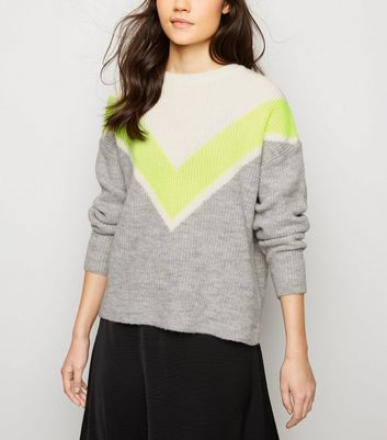Grey Neon Chevron Colour Block Jumper