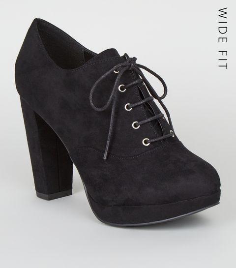 ... Wide Fit Black Suedette Lace Up Shoe Boots ... 88e3f26e5
