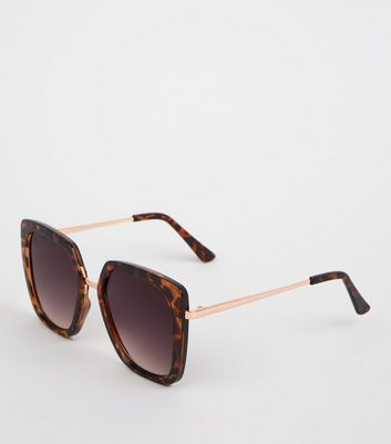 Dark Brown Square Faux Tortoiseshell Sunglasses