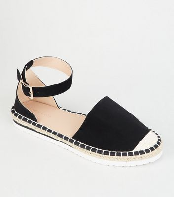 Black 2 Part Ankle Strap Espadrilles