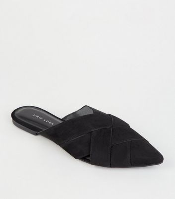 Black Leather-Look Woven Pointed Mules