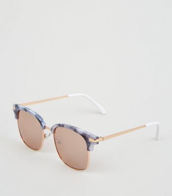 Black and Rose Gold Marble Effect Sunglasses