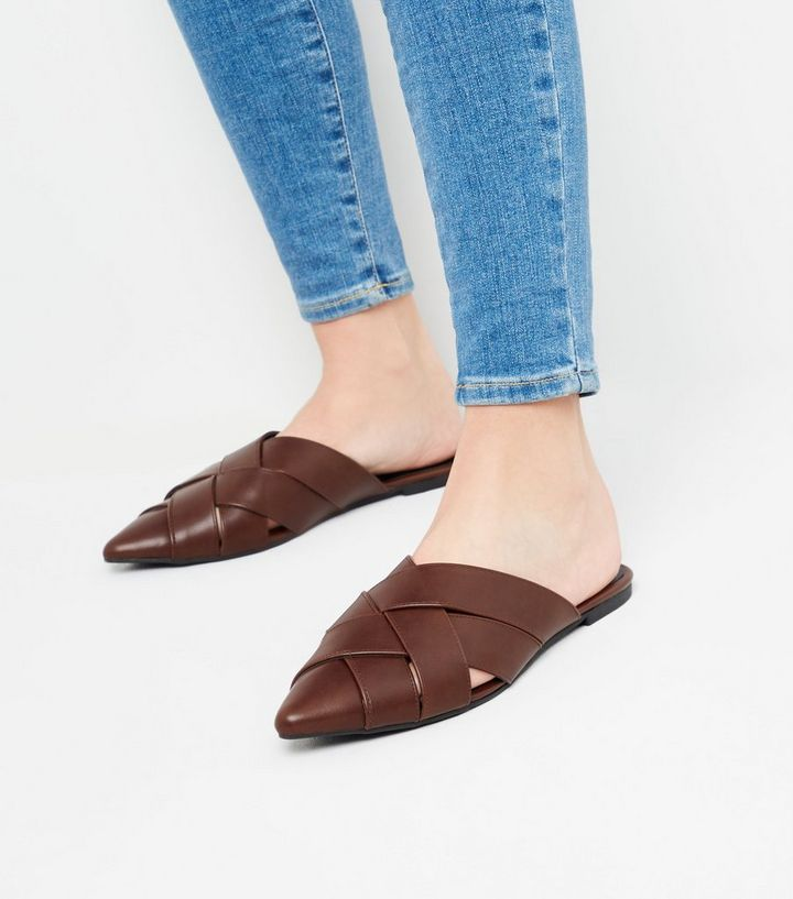 99aa62845 ... Brown Leather-Look Woven Pointed Mules. ×. ×. ×. Shop the look