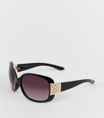 Black Filigree Arm Detail Sunglasses