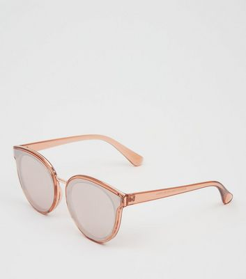 Pink Reflective Cat Eye Sunglasses