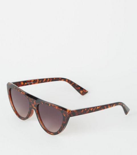 b554722fea ... Dark Brown Flat Top Cat Eye Sunglasses ...