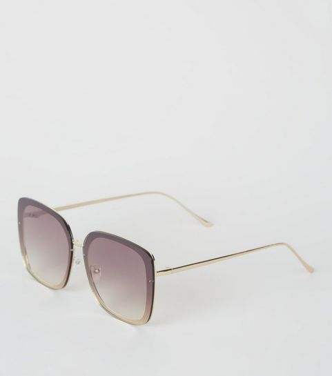 5a017268fe4 Gold Rimless Rectangle Sunglasses · Gold Rimless Rectangle Sunglasses ...