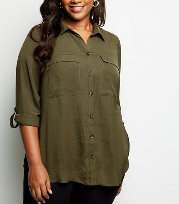 Curves Khaki Pocket Front Utility Shirt