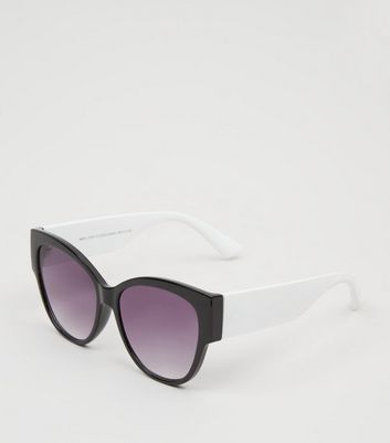 Black Colour Block Oversized Cat Eye Sunglasses