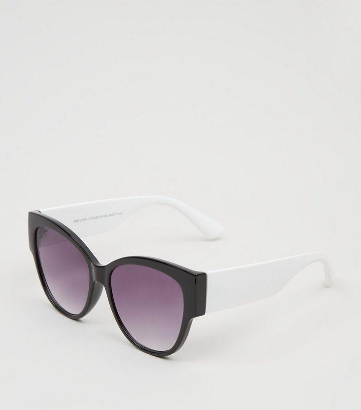 c64d677eb8e Black Colour Block Oversized Cat Eye Sunglasses