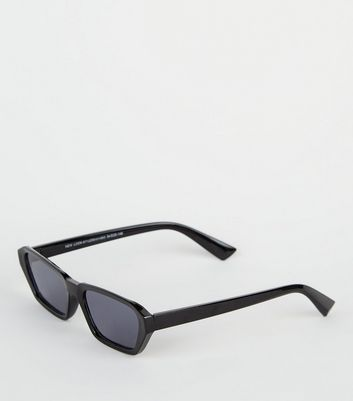 Black Mini Angular Rectangle Sunglasses