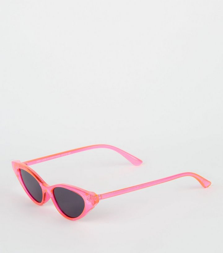 55ff1aa921584 Bright Pink Neon Clear Cat Eye Sunglasses