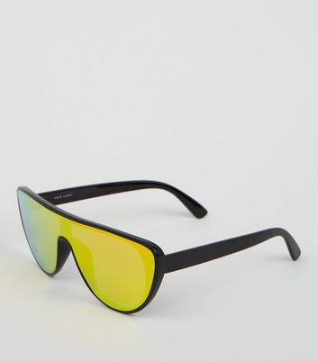 Black Iridescent Visor Sunglasses