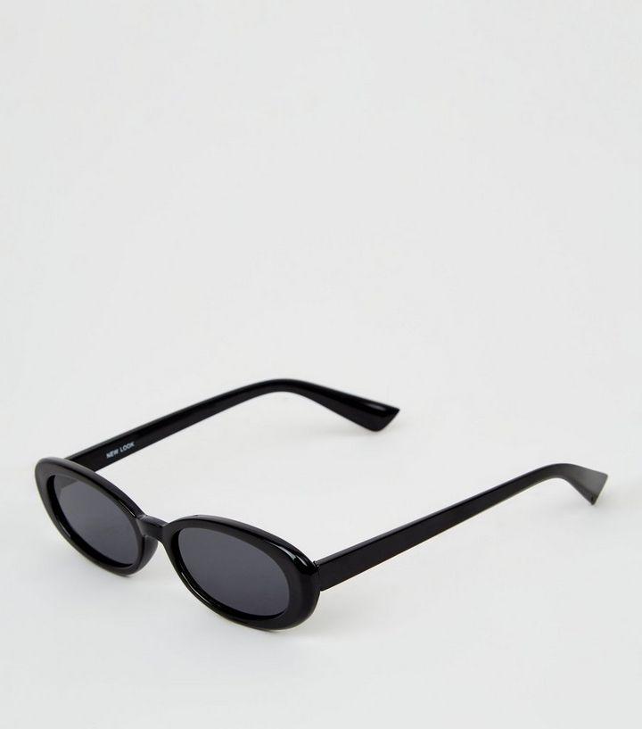 398249e6ecbf6 Black Thick Frames Oval Sunglasses