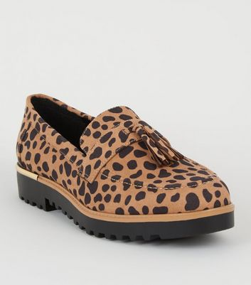 Brown Animal Print Chunky Tassel Loafers