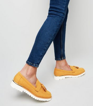 Mustard Suedette Chunky Tassel Loafers