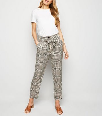 Brown Check Button Tie Front Tapered Trousers