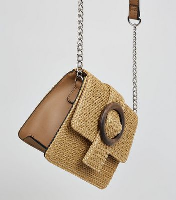Stone Woven Straw Effect Cross Body Bag