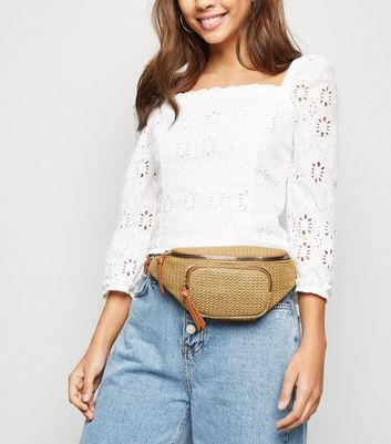 Stone Woven Straw Panel Bum Bag