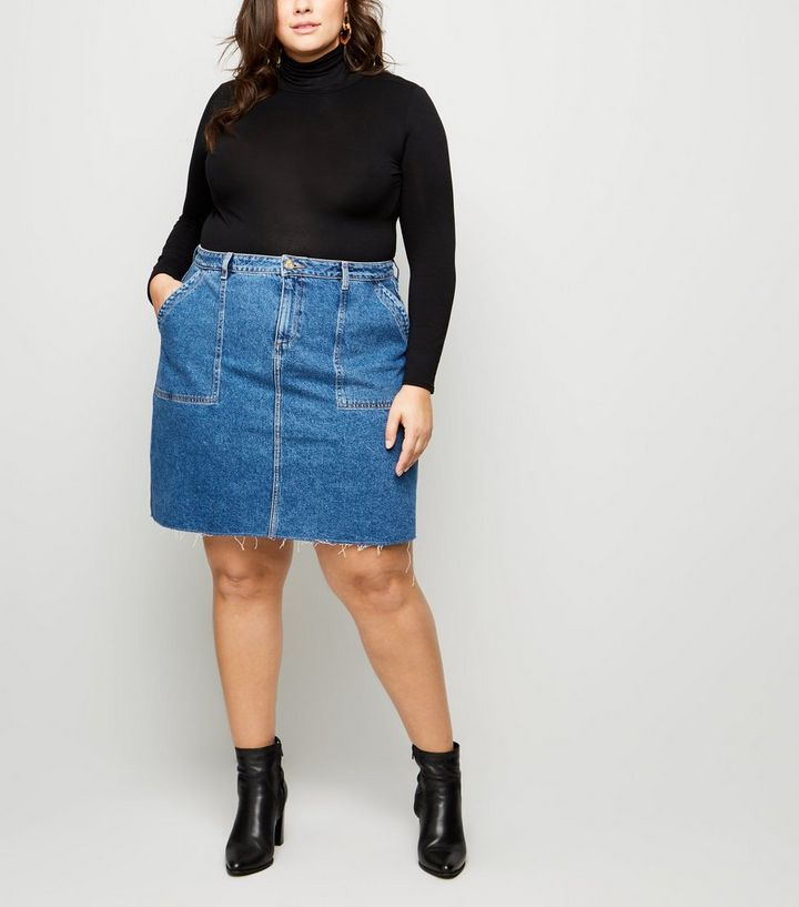324682ae46e5a ... Curves Blue Raw Hem Denim Utility Skirt. ×. ×. ×. Shop the look