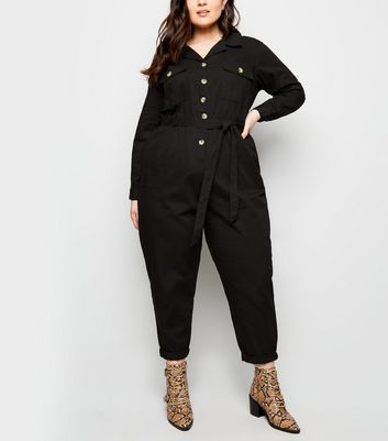 Curves Black Pocket Front Button Through Jumpsuit