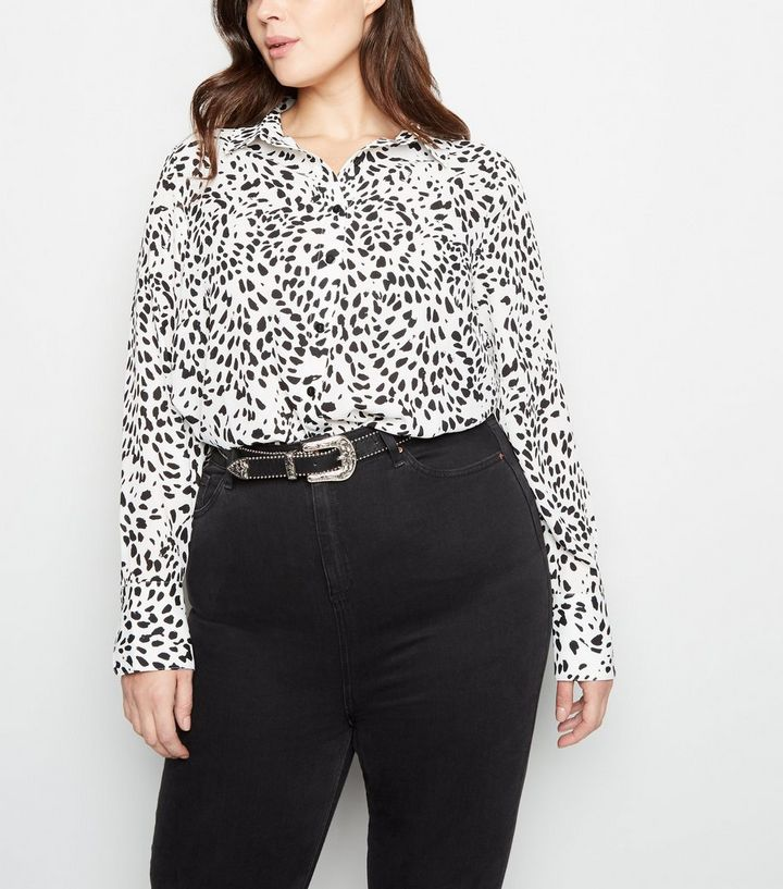 fc2574030d21a Curves White Leopard Print Long Sleeve Shirt