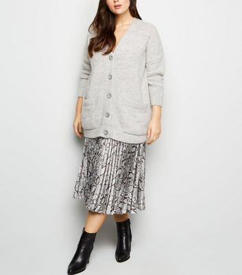 Curves Grey Pocket Front Button Up Cardigan