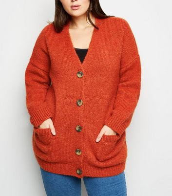 Curves Orange Pocket Front Button Up Cardigan