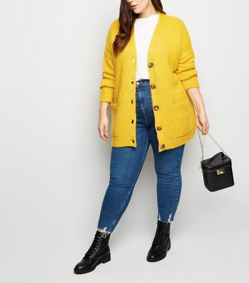Curves Yellow Pocket Front Button Up Cardigan
