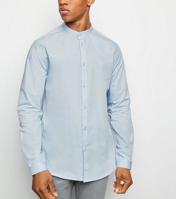 Pale Blue Long Sleeve Collarless Poplin Shirt