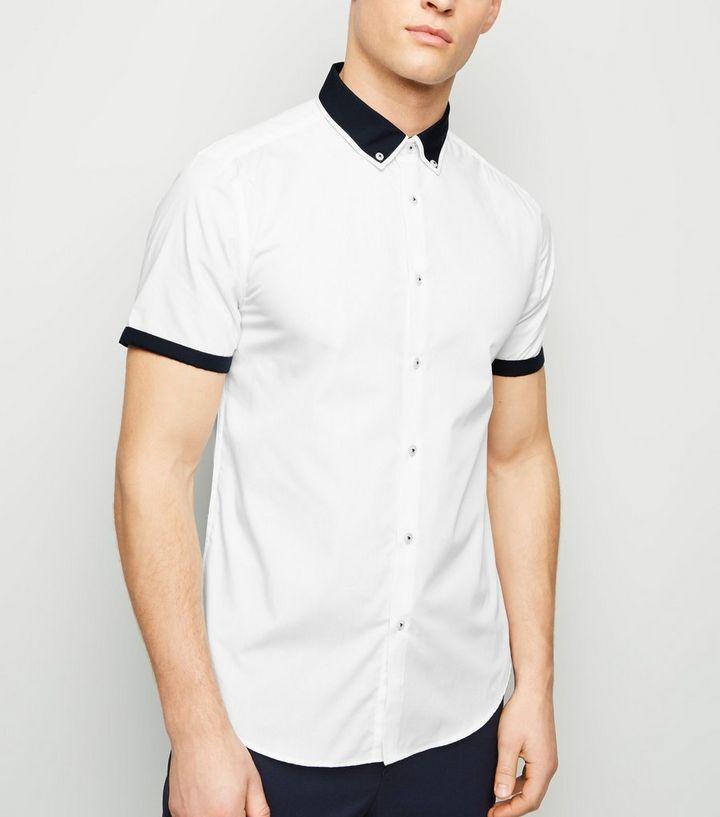 low priced 3d15a 32acd Weißes Kurzarmhemd mit Paspelierung Für später speichern Von gespeicherten  Artikeln entfernen