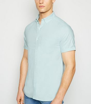 Mint Green Short Sleeve Cotton Oxford Shirt