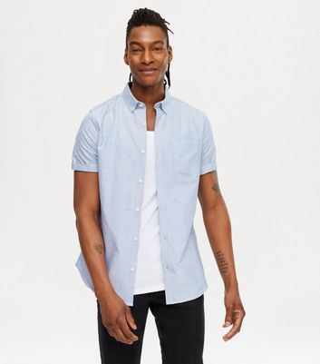Pale Blue Short Sleeve Cotton Oxford Shirt
