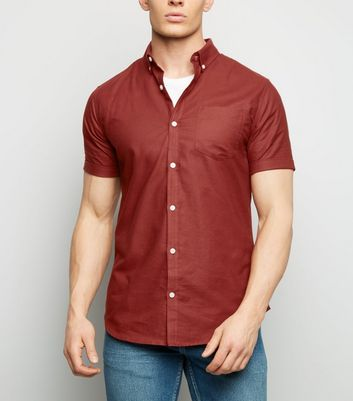 Burgundy Cotton Short Sleeve Oxford Shirt