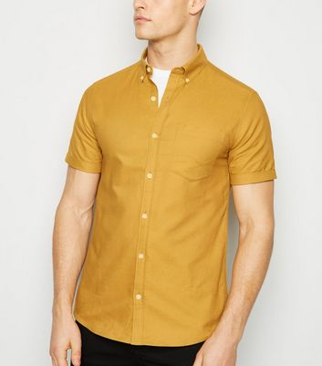 Yellow Short Sleeve Cotton Oxford Shirt