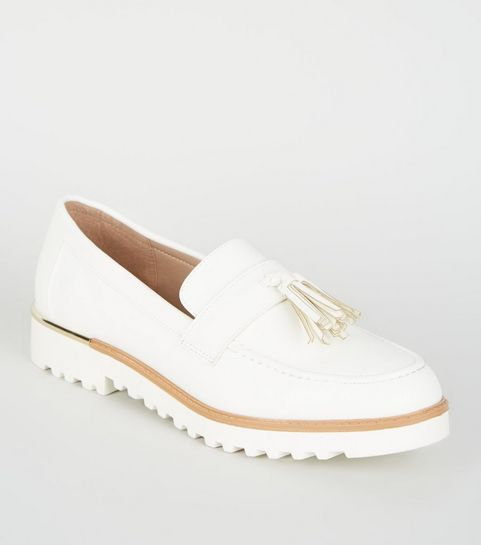 8f074d755ef ... Off White Leather-Look Chunky Tassel Loafers ...