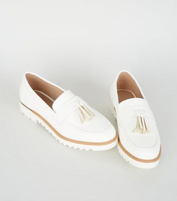 Off White Leather-Look Chunky Tassel